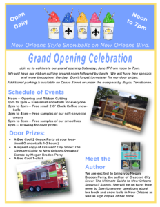 Grand Opening Schedule